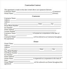 Simple Contractor Agreement Template Free 5 Sample Contractual Agreements In Pdf Word