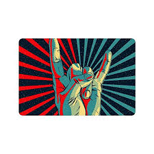 Non Slip Kitchen Floor Mats Custom Music Rock N Roll Hand Art Doormat Entrance Mat Floor Mat