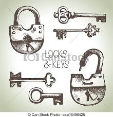 lock and key drawing. Simple And Hand Drawn Locks And Keys Set  Csp16496425 In Lock And Key Drawing A