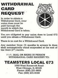 teamsters local 673 withdrawal card
