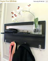 key chain holder for wall on stunning ebony stained 4 hook wall mounted coat rack