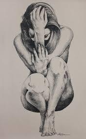 EVE PARADISE LOST aka Crouching Woman Original Art Nude Art.