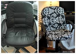 no sew office chair cover tutorial shows how to cover an office chair with fabric and a staple this is an easy project that makes a huge difference