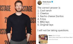 MCU Star Chris Evans Faces Twitter Storm With his Favourite Crisps Ranking  - Animated Times