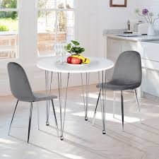 Shop Funiturer Kitchen Dining Table Round Wood High Gloss White On