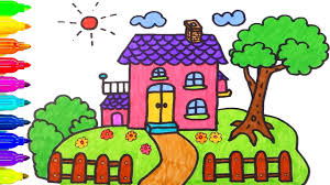 Small Picture How to Draw House Coloring Pages Drawing for Children Learning