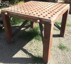 industrial steel furniture. custom welding table repurposed for us in outdoor garden industrial chic tablesteel furnitureoutdoor steel furniture t