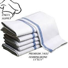 24 new cotton herringbone blue stripe dish towels lintfree barber chefs brand