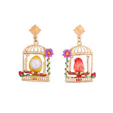 asymmetry canary birds birdcage drop earring enamel glaze 925 silver needle luxury statement earrings for women