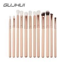 guj 12pcs professional eyes makeup brushes set wood handle eyeshadow eyebrow
