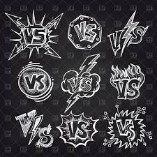 Hand Drawn Versus Logos On Blackboard Background Vector Illustration Stock Vector Image