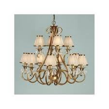 oksana large 12 light chandelier in antique brass with beige fabric shades