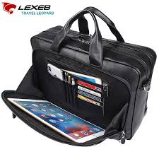 lexeb full grain leather men s briefcases attached 17 inches laptop bag high quality classic business travel bags in black messenger bags for men leather