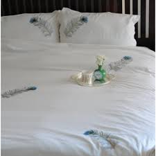 peacock feather hand embroidered pure cotton duvet cover king size