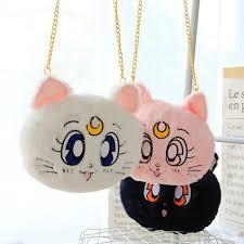 1pc 25cm cartoon sailor moon plush luna cat messenger bag cute soft shoulder coin purse plush