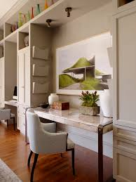 tailor made inspiration for a contemporary home office remodel in san francisco with beige walls and built office storage