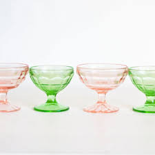 vintage 1930s depression glass sherbert set ice cream pink and