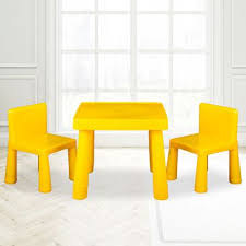kids table chair play furniture set plastic fountain activity dining chairs yellow
