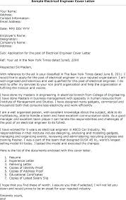 Sample Cover Letter For Electrician Electrical Engineering Cover