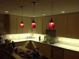 Chic red flower pendant lighting kitchen design inspiration with l shape  simple kitchen cabinet and white