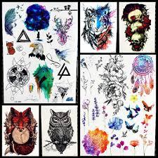 Vodotěsné Sky Galaxy Dočasné Tetování Geometrie Akvarel Jelen Lev