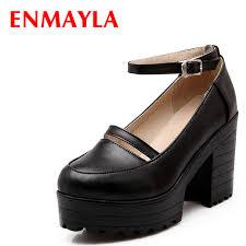 ENMAYLA Girls Casual Retro Buckle Strap Platform Pumps <b>Women</b> ...