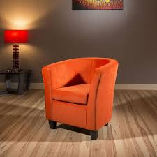 modern large comfy burnt orange fabric armchair tub chair new