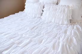 pure white waterfall ruffle duvet cover set by lovelydecor