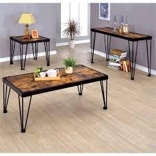 furniture of america eagles metal 3 piece coffee table set in black