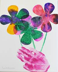 This paint with marbles activity was simple, not as messy as regular painting and fun! Mother S Day Art With A Gorgeous Mixed Media Hand Print Bouquet Fun A Day