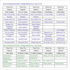 Free College Schedule Weekly Class Schedule Template Shooters Journal