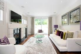 White Purple Beige Long Narrow Living Room Interior Decorating Pictures Gallery