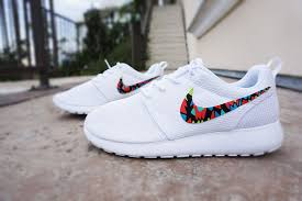 Nike Pattern Shoes Interesting Womens Custom Nike Roshe Run Sneakers White On White Nike Roshe