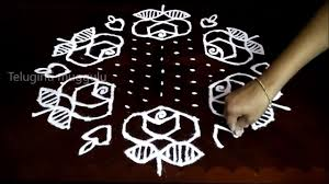 Simple Rangoli Designs With Dots 15 8 Simple Rose Flowers Kolam Designs With 15 8 Middle
