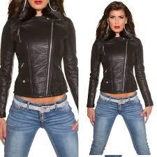 koucla leather look faux fur biker jacket black