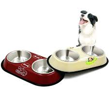 dog water dish pet bowl food stainless with bone picture . Dog Water Dish Heated 1 Piece Hot Sale Dual Bowls Design