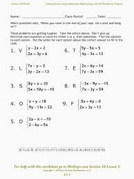 solving equations worksheets system linear equations in two