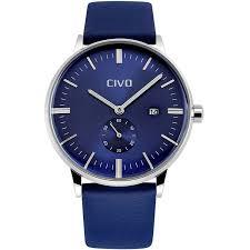 mens watches shop amazon uk civo men s simple design blue leather band wrist watch mens classic fashion dress analogue quartz wrist watches 30m waterproof luxury