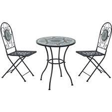 metal dining set mosaic garden table