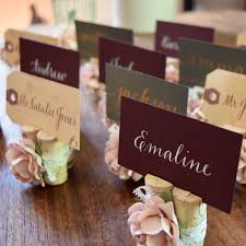 fall wedding place card holders. rose \u0026 lace wedding place card holder fall holders