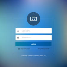 Web Login Template With Blue Button Vector Free Download