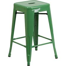 24 high backless green metal indoor outdoor counter height stool with square seat