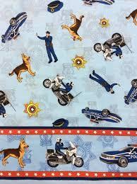 EMERGENCY! Police Officer Police Dog K9 Motorcycle Badge Cops ... & Police Officer Police Dog K9 Motorcycle Badge Cops Cotton Fabric Quilt  Fabric MD02 Adamdwight.com