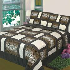 fancy collection 3 pc bedspread bed cover animal print leopard brown beige queen