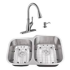 cahaba undermount stainless steel 32 in 40 60 double bowl kitchen sink with brushed