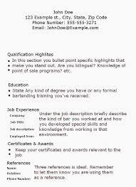 Example Bartender Resume Bartender Resume Examples New Bartender