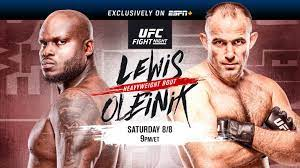 Access to ufc events, the entire ufc fight library, live martial arts events from around the world and exclusive original series and shows. Ufc Fight Night On Espn Lewis Vs Oleinik August 8 Exclusively On Espn Espn Press Room U S