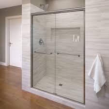 semi frameless single shower doors 2. Semi-Frameless Sliding Shower Door In Silver With AquaGlideXP Clear Glass Semi Frameless Single Doors 2 S