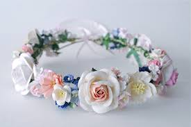 Paper Flower Headbands Paper Flower Crown Headband Wedding Pink Soft Pink Cream Blue