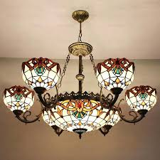 drum style chandeliers ceiling lamp shades decorative 9 light stained glass shade style chandeliers 5 drum